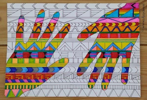 Benodigdheden: - wit A4 papier - liniaal - zwarte fineliner (of stift met dun puntje) - gekleurde stiften Begin met de basis. Trek...
