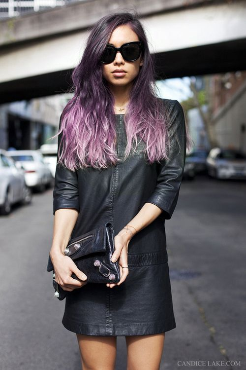 I kind of want to do this, but it will kill my hair #purple #ombre
