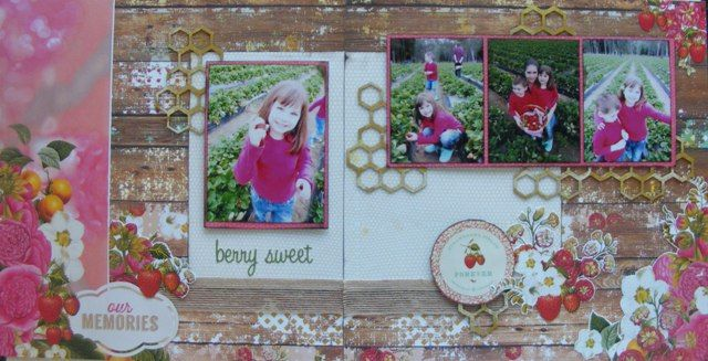 Berry Sweet double page created by Teena Hopkins with Webster's Pages Strawberry Fields collection for My Scrappin' Shop.