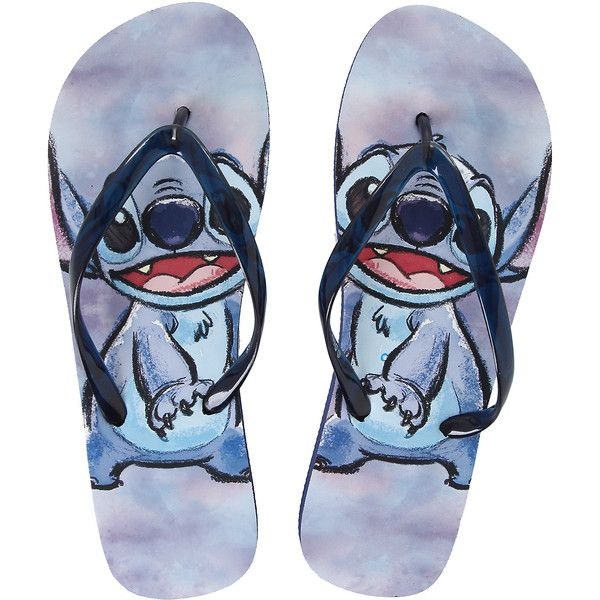 Disney Lilo Stitch Blue Flip Flops Hot Topic ($15) ❤ liked on Polyvore featuri…