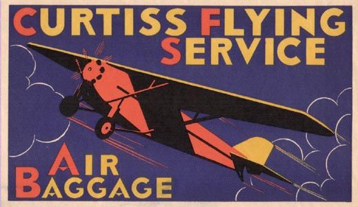 Curtiss Flying Service: Baggage Labels,  Dust Jackets, Vintage Luggage Tags, Vintage Airlines, Luggage Labels, Curtiss Flying,  Dust Covers, Golden Age, Flying Service