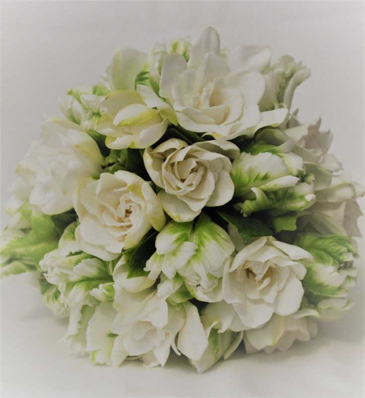 White on White Summer Bouquet with Gardenia and Tulip. Created by Poppies and Peas Floral Design.