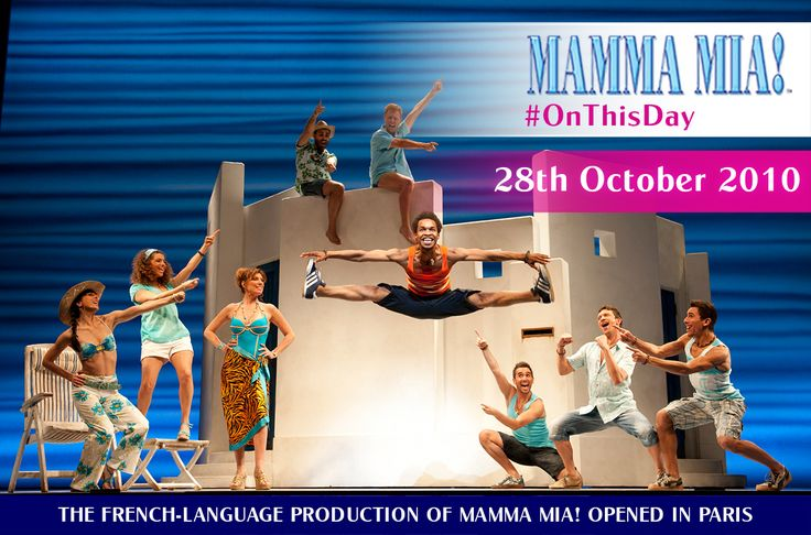 The French-language production of MAMMA MIA! originally opened in Paris at the Mogador Theatre on 28 October 2010, marking the first time that MAMMA MIA! played in the French language.  www.mamma-mia.com  #MammaMiaMusical #MammaMiaFrance #MammaMiaParis #OnThisDay