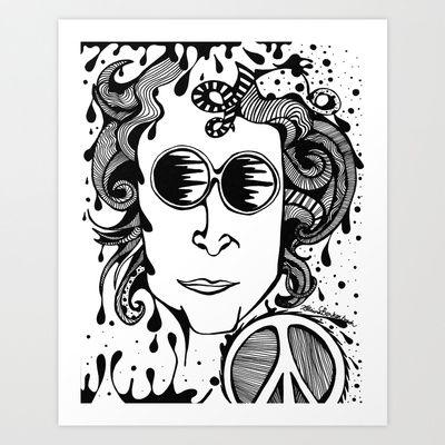 Lennon  Art Print by Katrina Berkenbosch  - $17.68 #Art #Drawing