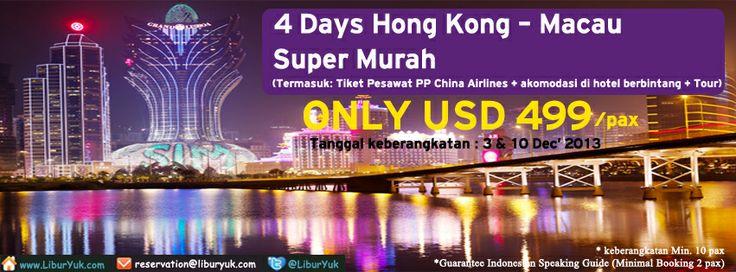 Ingin jalan-jalan ke Hong Kong tapi masih galau dengan biaya yg mahal?jangan khawatir,kini telah tersedia paket 4 hari Hong Kong-Macau Super Murah by China Airlines, Harga sudah termasuk Tiket Pesawat PP China Airlines + akomodasi di hotel berbintang + Tour.Yuk liburan sekarang juga!  Dapatkan Special Paket tersebut dari LiburYuk.com di http://liburyuk.com/groupseries/book/69042780/4-Days-Hong-Kong-Macau-by-China-Airlines---Super-Murah  #abbeytravel #jalan2 #holiday #hongkong