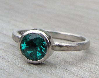 Chatham Lab Created Emerald and Recycled 950 Palladium Engagement Ring, Bezel Set, Stackable, Ethical, Diamond Alternative - Made to Order