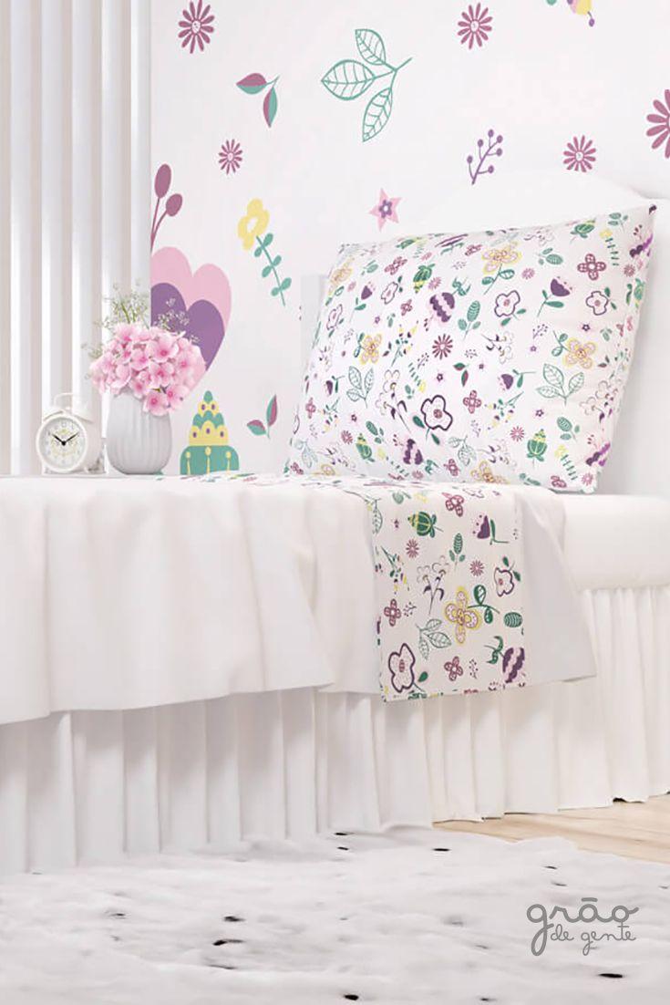 df5914b7e9 O Jogo de Lençol Infantil Floral Moderna é a escolha perfeita para a  decoração do quarto