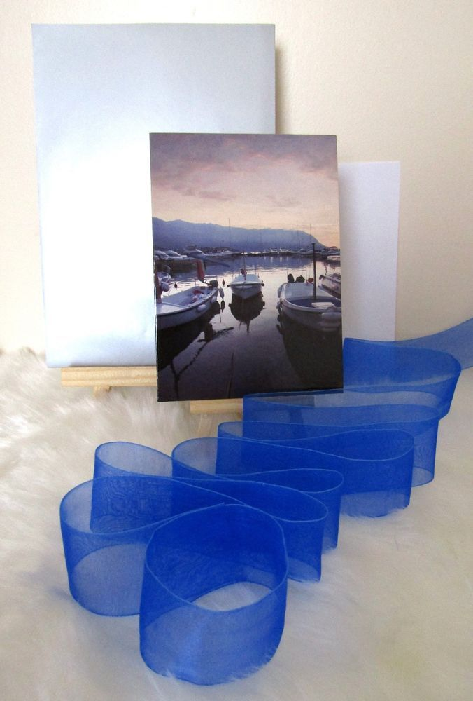 Boats - Yachts Card & Envelope, Gift Wrapping Paper & Blue Organza Ribbon Set