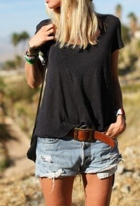 Relaxed.Fashion, Casual Summer, Summer Outfit, Summer Style, Cutoffs, Jeans Shorts, Denim Shorts, Leather Belts, Summer Clothing