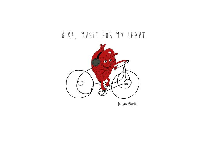 Bike, music for my heart. Illustration by pequeña alegría.