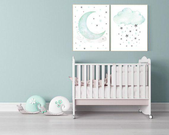 Mint Nursery Decor Mint Green Nursery Decor Moon And Cloud