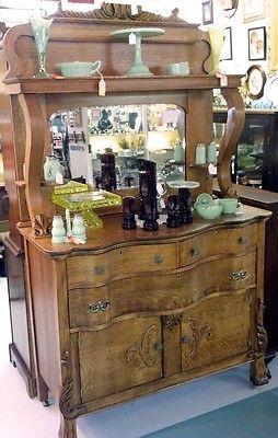 Oak Buffet Ornate Beveled Mirror In 2019 Antiques