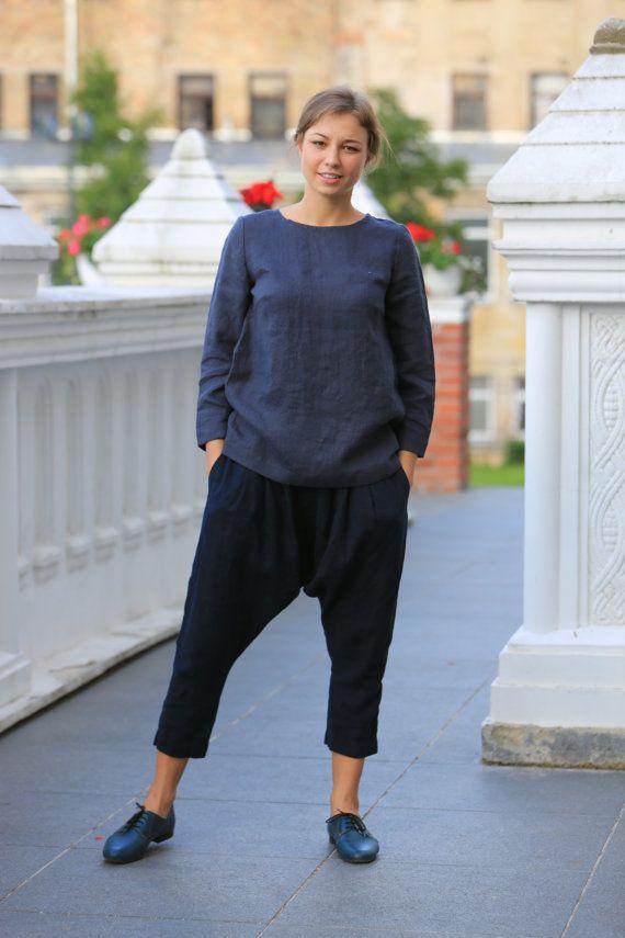 Natural linen blouse. Plus Size Linen Clothing / Longer sleeves / Linen top / linen blouse