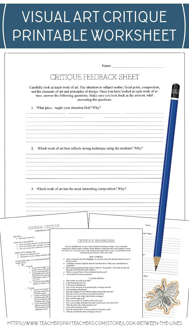 Visual Arts General Critique Worksheet: Encourage Discussion ...