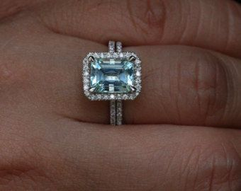 Aquamarine Wedding Ring Set in 14k White Gold by Twoperidotbirds