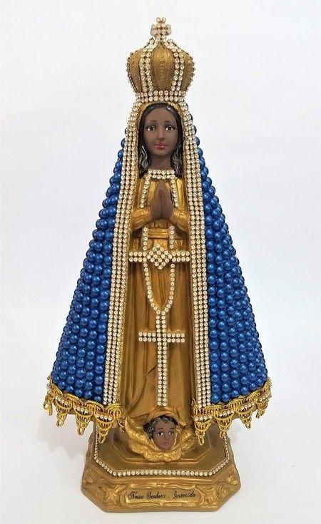 Nossa Senhora Aparecida com pérolas - 33 cm - Azul