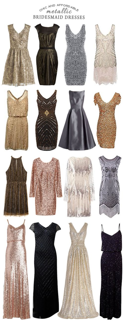 A Selection of Chic and Affordable Metallic Bridesmaid Dresses