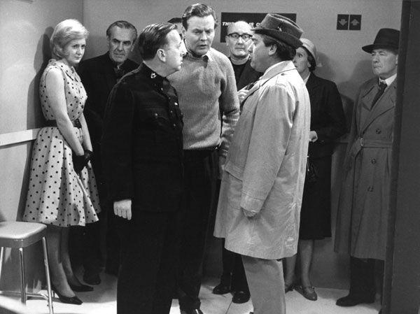 Liz Fraser, John Le Mesurier, Hugh Lloyd, Jack Watling, Noel Howlett, Tony Hancock, Diana King and Colin Gordon in The Lift. BBC TV. 1961