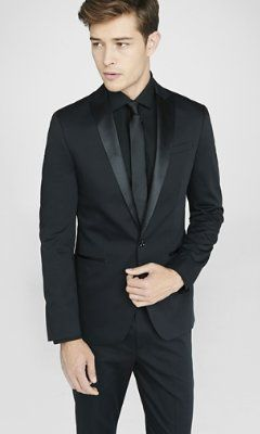 photographer cotton sateen black tuxedo jacket from EXPRESS