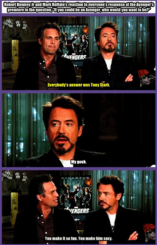 """Robert Downey Jr & Mark Ruffalo's reaction to everyone's response at the Avenger's premiere to the question, """"If you could be an Avenger, who would you want to be?""""  http://pinterest.com/yankeelisa/marvel-s-the-avengers-4/"""