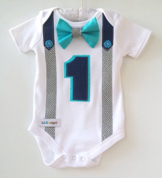 1st Birthday Boy Onesie Navy grey and Bright Aqua by LilBirdieShop