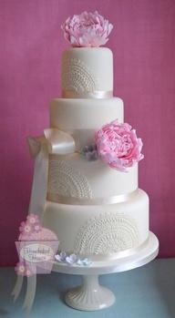 Peonies & Lace Wedding Cake