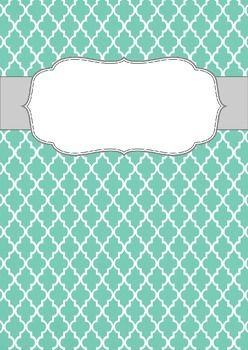 FREE Blank Binder Cover: Teal Quatrefoil