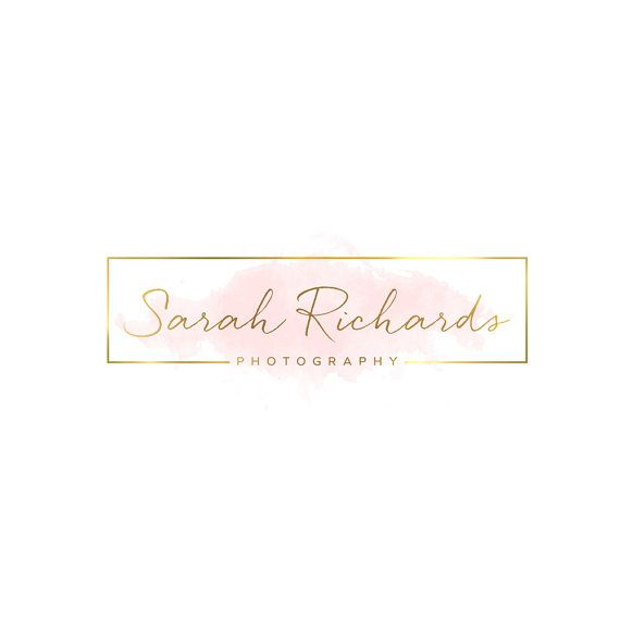 Premade Logo Gold Rectangle Pink Watercolor by VisualPixie on Etsy