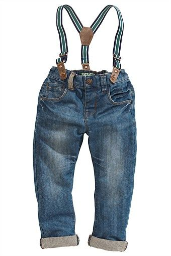 Boys Clothing Online - 3 months to 6 years - Next Mid Wash Jean With Stripe Braces