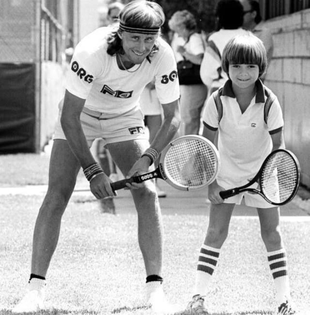 Tennis great Bjorn Borg with future champion Andre Agassi ~ Las Vegas 1979  #terbgroup www.terbgroup.it