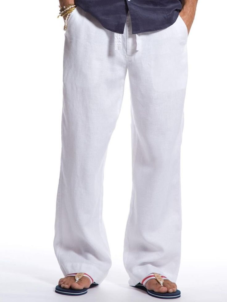 White Mens Linen Pants