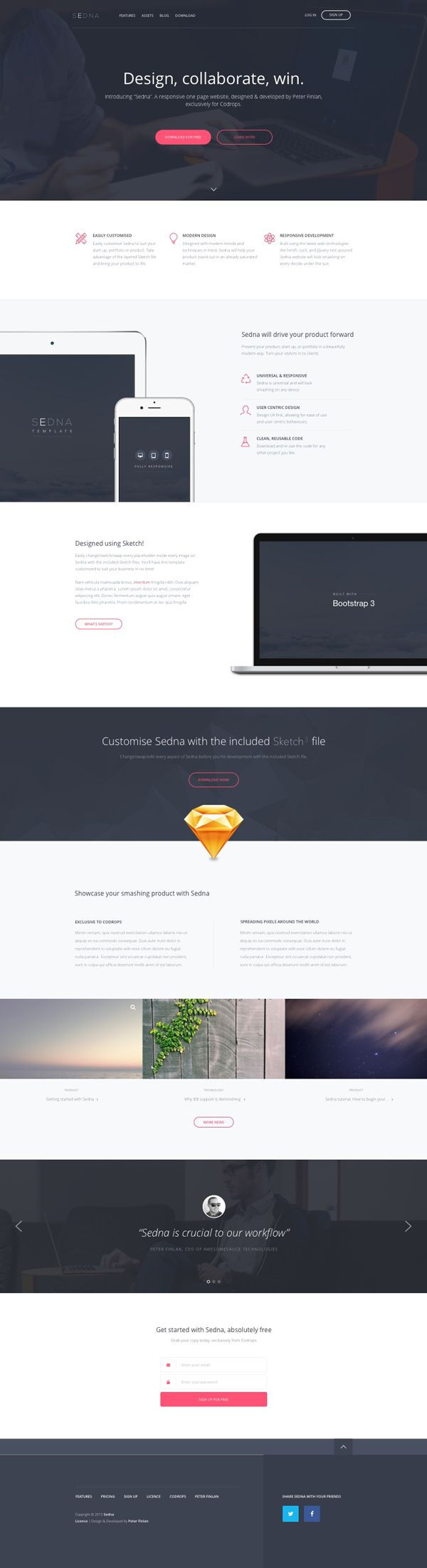 """Freebie: """"Sedna"""" One Page Website Template (HTML, Sketch) Sedna is an elegant and versatile one page website template that was implemented with the latest web technologies and with easy reusability in mind. The Sketch file is included as a bonus."""