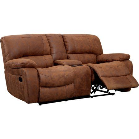 Furniture of America Renna Faux Leather Reclining Loveseat, Brown