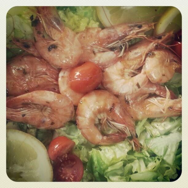 Shrimp and simple salad...