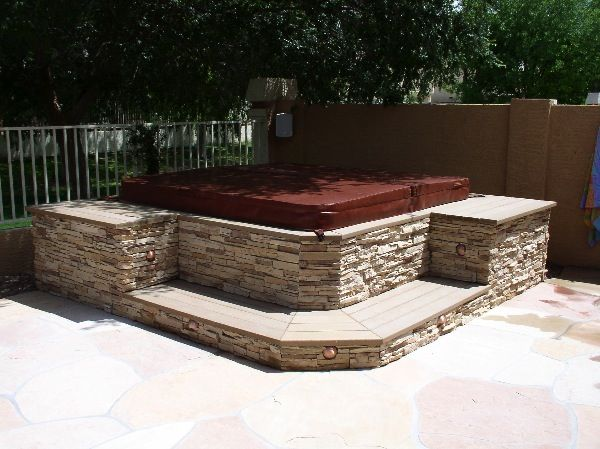 Idea for stone around the hot tub