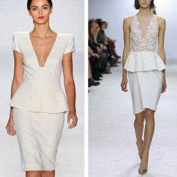 Белые платья с баской сезона 2013