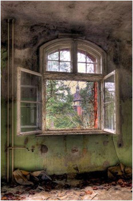 beautiful window in an abandoned house