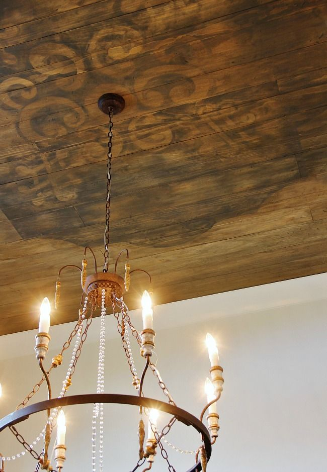 stenciled wooden ceiling - this is wonderful .. could use a stain.