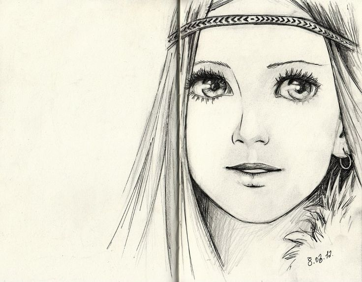 sketch woman drawing hippy happy big eyes face ( Masha ...