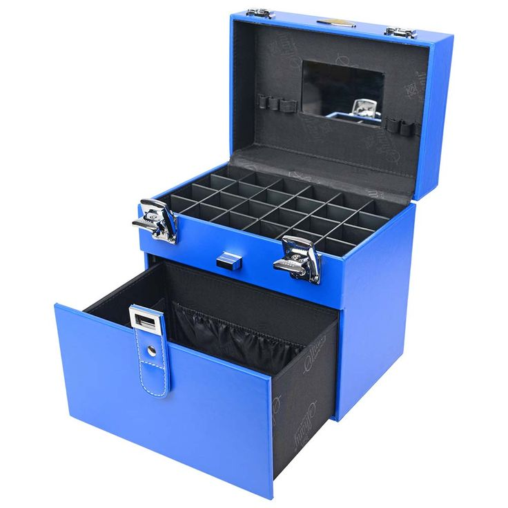 Color Matters - Nail Accessories Organizer and Makeup Train Case - Vicious Blue   SHANY Cosmetics
