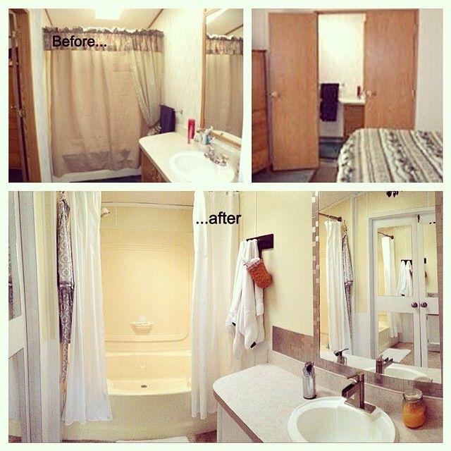 Single wide manufactured mobile home remodel master bath Mobile home interior walls