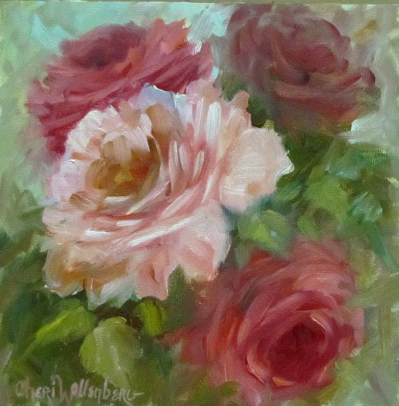 Rose Painting Small 6x6 Original Floral Red Pink by ChatterBoxArt