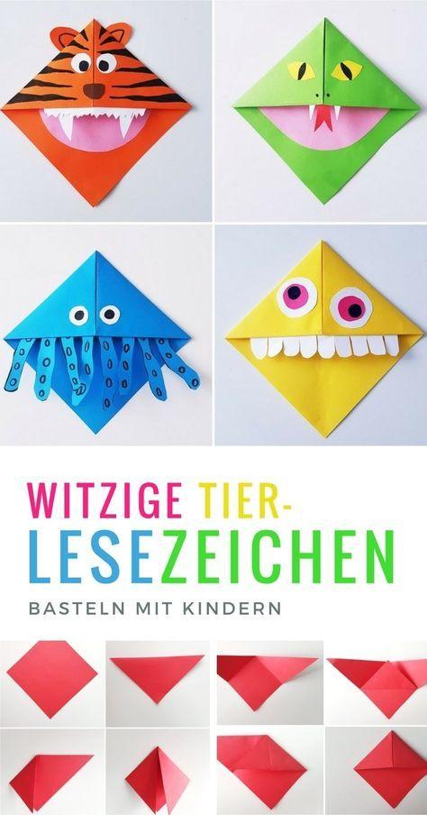 Lesezeichen Basteln Monster Und Tier Lesezeichen Falten Mit Kindern
