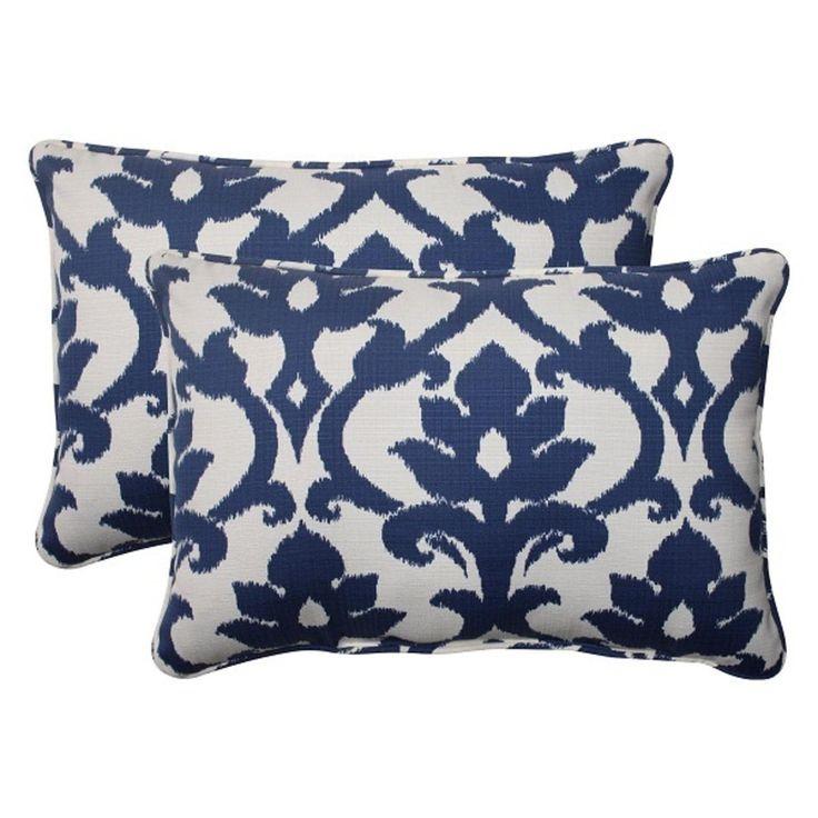 Set of 2 Navy Floral Victorian Outdoor Corded Rectangular Throw Pillows 24.5, Blue, Outdoor Cushion