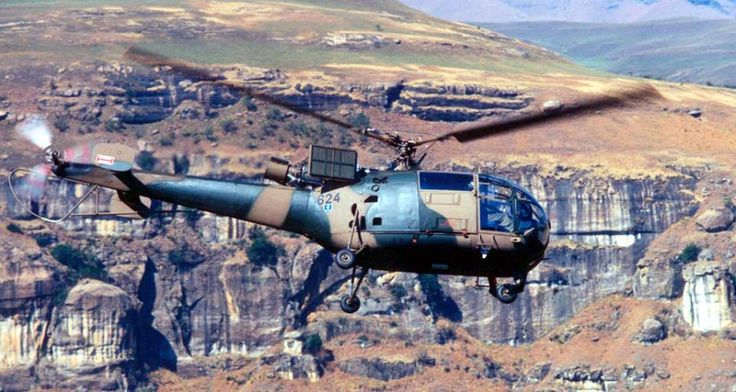 Alouette III Helicopter 624 during a mountain flying exercise in the Drakensberg Mountains