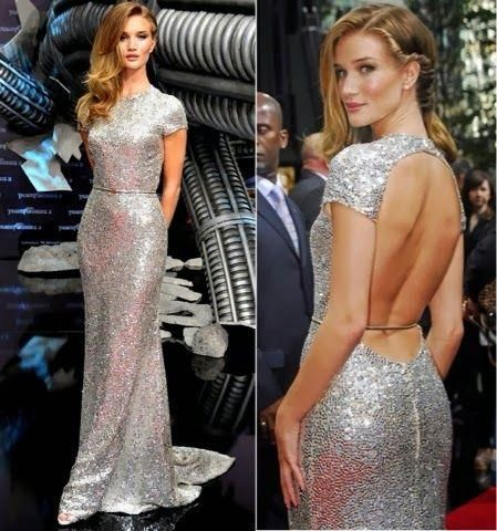 Rosie Huntington Red Carpet Dresses 2015 Sparkly Sequin High Neck Backless Floor-length Mermaid Evening Dresses with Sleeve from Whiteone,$115.19 | DHgate.com