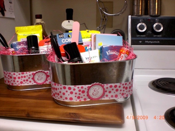 Wedding Bathroom Baskets- also old navy flip flops in the lady's room for the girls regretting the heels
