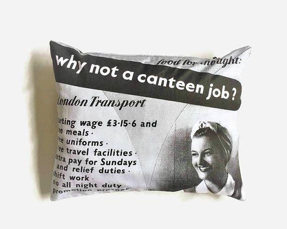 Unusual Gift London Poster Souvenir Cushion Kitchen Decor #giftforher, #giftforhome, #quirkydecor, #retrodecor