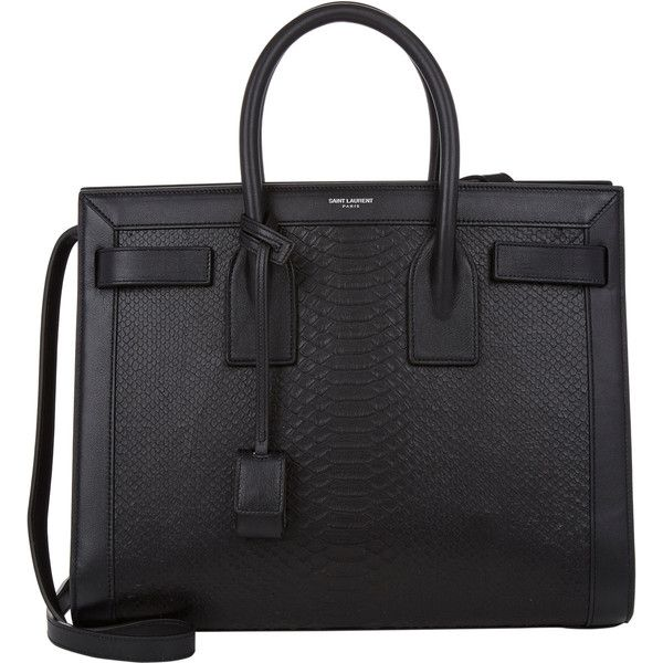 Saint Laurent Python-Stamped Small Sac De Jour Carryall ($2,990) ❤ liked on Polyvore featuring bags, handbags, purses, black, yves saint laurent handbags, pocket purse, black leather handbags, snakeskin purse and black purse