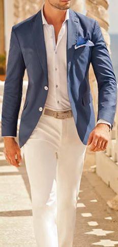 Blue Blazer . White Shirt . Beige Belt . White Chinos